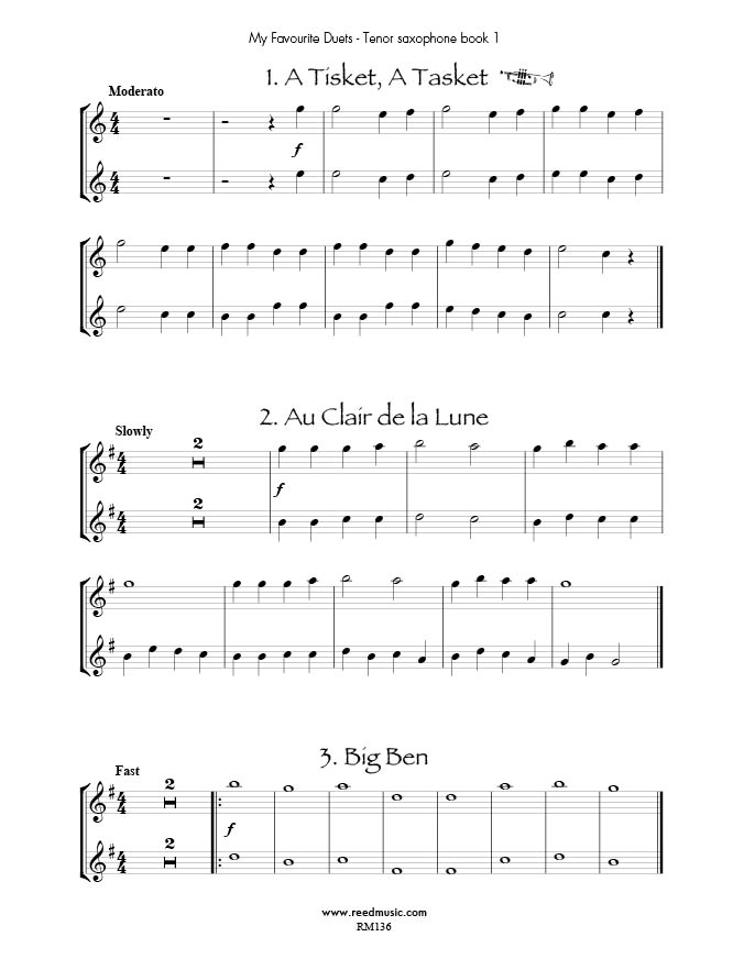 Piano piano and trumpet duet sheet music : My Favourite Tenor Saxophone Duets Book 1 Edited by Barry ...