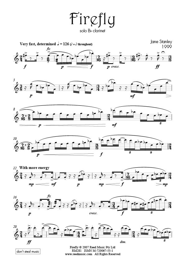 Clarinet solo level d reed music