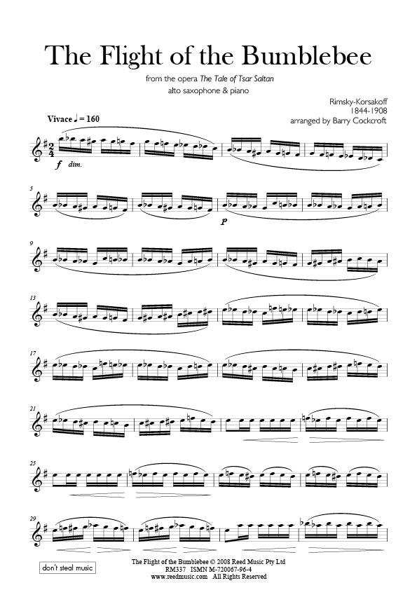 Flight Of The Bumblebees : korsakov s the flight of the bumblebee barry cockcroft editor for alto saxophone piano reed ~ Hamham.info Haus und Dekorationen