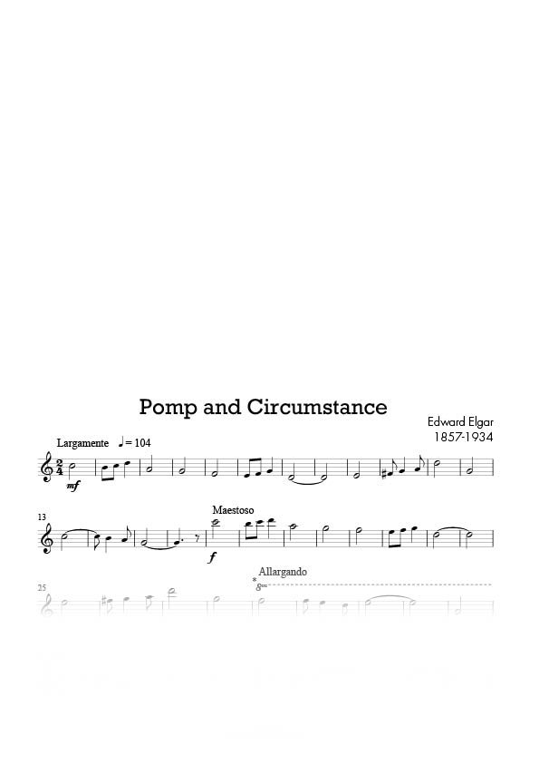 Sax alto piano level c reed music for Pomp and circumstance