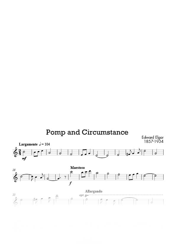 Saxophone tenor reed music page 2 for Pomp and circumstance