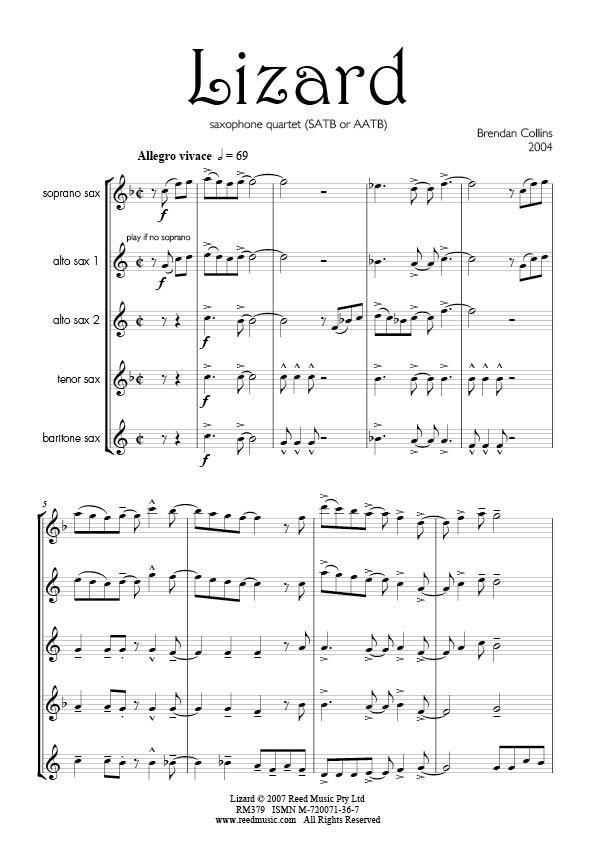 Lizard by Brendan Collins for Sax Quartet AATB   Reed Music